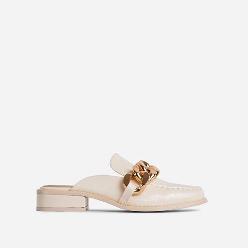 Huntington Chain Detail Flat Mule In Cream Nude Croc Print Faux Leather