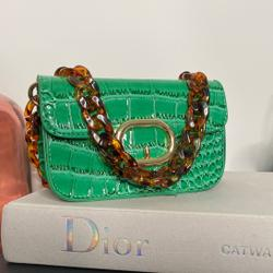 Buckle Detail Cross Body Bag In Green Croc Patent