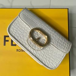 Buckle Detail Cross Body Bag In White Croc Patent
