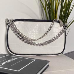 Chain Detail Crossbody Bag In White Croc Patent