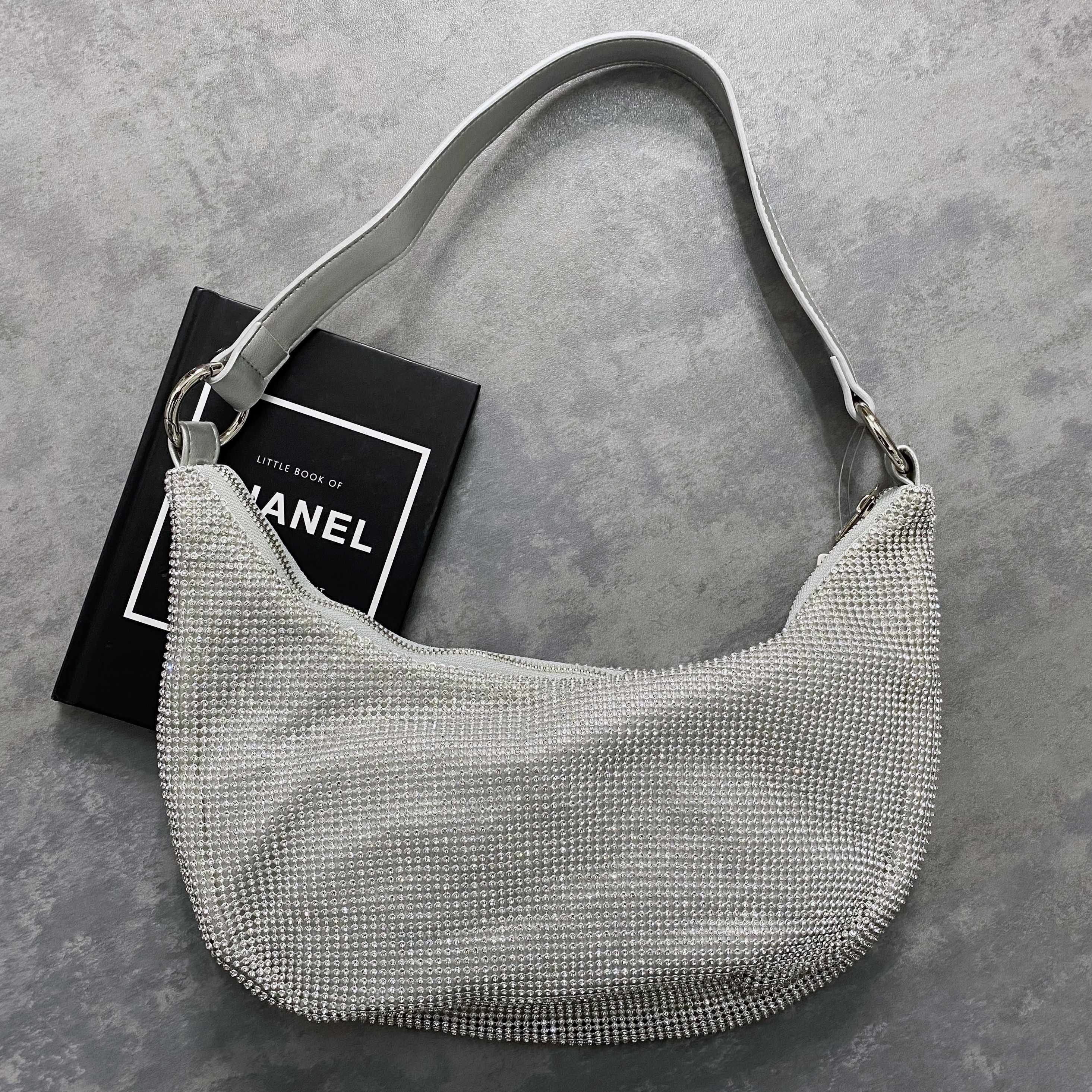 Shoulder Bag In Silver Diamante