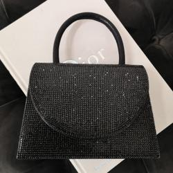 Single handle Boxy Bag In Black Diamante