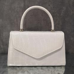 Chain Detail Boxy Handbag In White Croc Print Patent