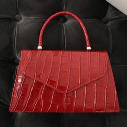 Chain Detail Boxy Handbag In Red Croc Print Patent