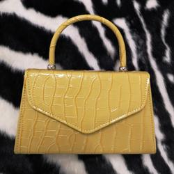 Chain Detail Boxy Handbag In Yellow Croc Print Patent