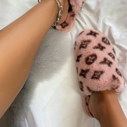 Kulture Fluffy Printed Detail Flat Slipper In Pink Faux Fur
