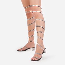 Twilight Diamante Detail Thigh High Wrap Around Midi Block Heel In Black