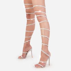 Eyes On You Diamante Detail Thigh High Wrap Around Heel In Silver Holographic Faux Leather