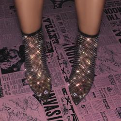 Vakili Multi Colour Diamante Detail Heel Ankle Sock Boot In Black Fishnet