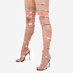 Eyes On You Diamante Detail Thigh High Wrap Around Heel In Black Faux Leather
