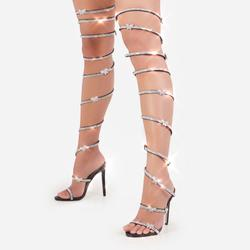 Babe Diamante Butterfly Detail Thigh High Wrap Around Heel In Black Faux Leather