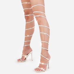 Eyes On You Diamante Detail Thigh High Wrap Around Heel In White Faux Leather