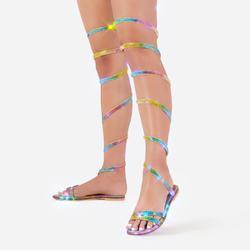 No Limit Diamante Detail Thigh High Wrap Around Flat Sandal In Rainbow