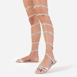 No Limit Diamante Detail Thigh High Wrap Around Flat Sandal In Silver
