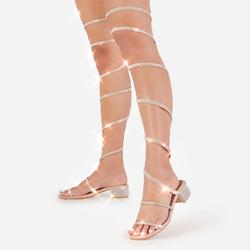 Twilight Diamante Detail Thigh High Wrap Around Midi Block Heel In Nude