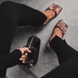 Clove Chain Detail Square Toe Diamante Fishnet Court Kitten Heel In Black Faux Leather