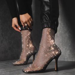 Minnie Square Toe Diamante Detail Fishnet Heel In Black
