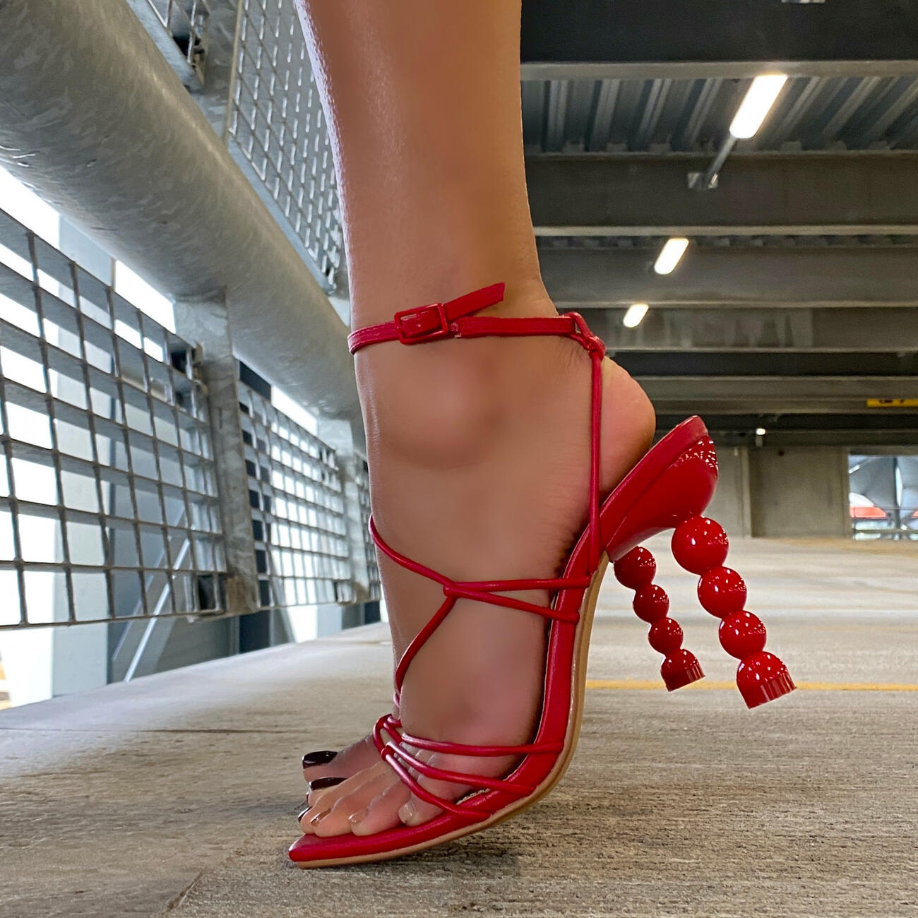 Mulberry Strappy Square Toe Sculptured Heel In Red Faux Leather Image 6