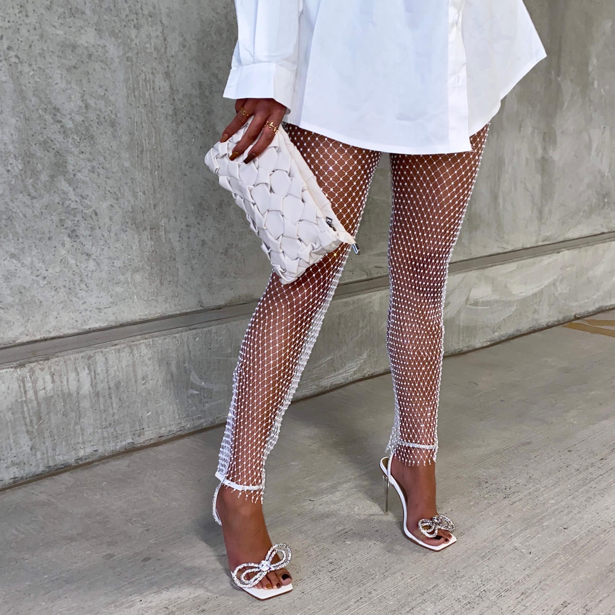 Diamante Detail Leggings In White Fishnet, White