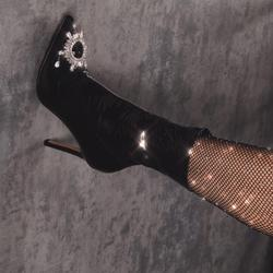 Starlight Diamante Detail Ankle Sock Boot In Black Patent