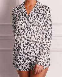 Long Sleeve Top And Shorts Pyjama Set In White Dalmation Spot Print Satin