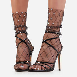 Speckled Diamante Detail Socks In Black Mesh