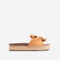 Daiquiri Espadrille Flat Slider Sandal In Brown Faux Suede