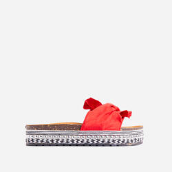Daiquiri Espadrille Flat Slider Sandal In Red Faux Suede