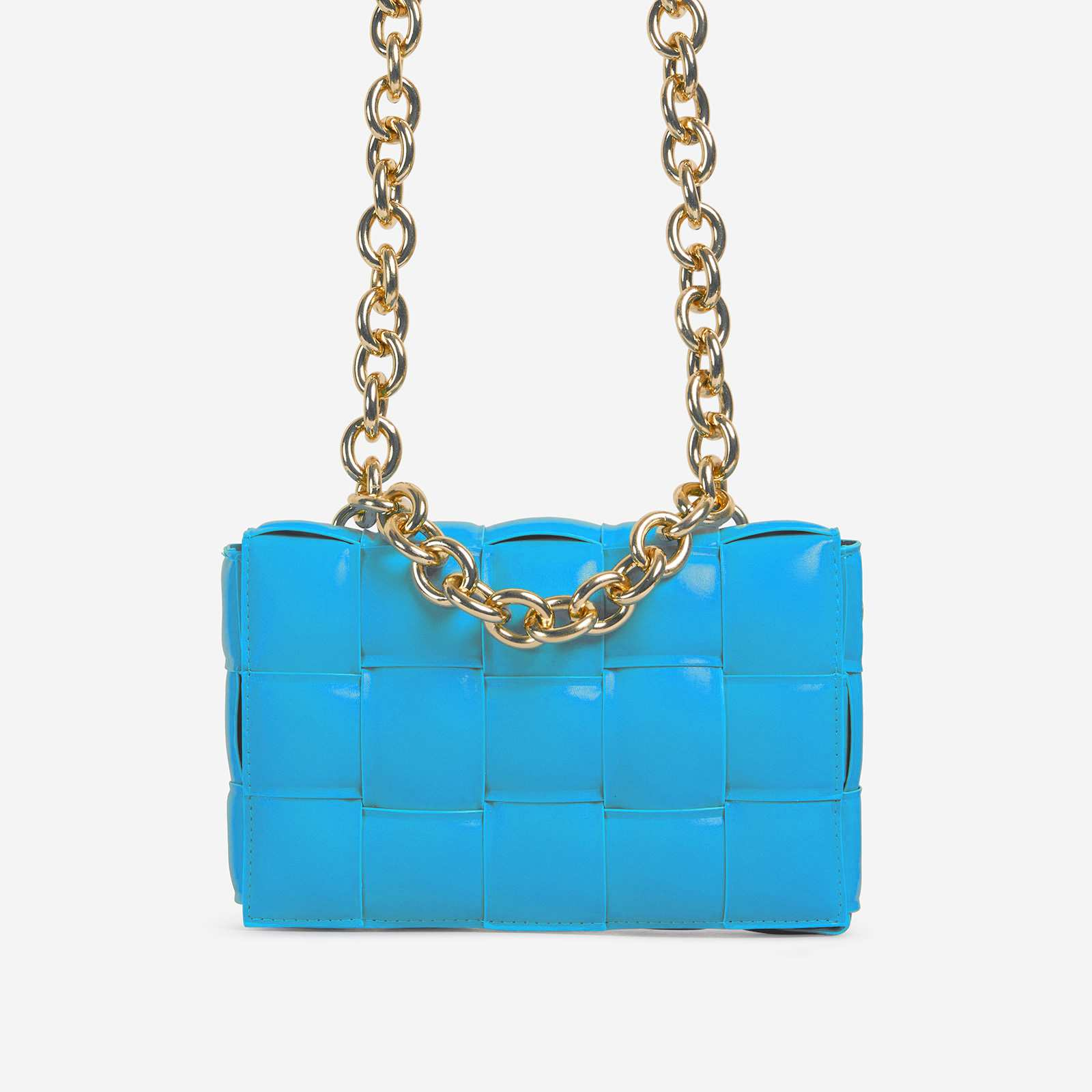 Jackson Chain Detail Quilted Shoulder Bag In Blue Faux Leather