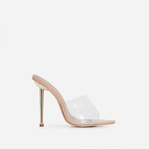KingKing Clear Perspex Pointed Peep Toe Heel Mule In Nude Patent