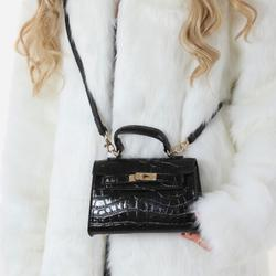 Lock Detail Mini Tote Bag In Black Croc Print Patent