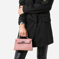 Lock Detail Mini Tote Bag In Pink Faux Leather