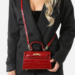 Lock Detail Mini Tote Bag In Red Croc Print Patent