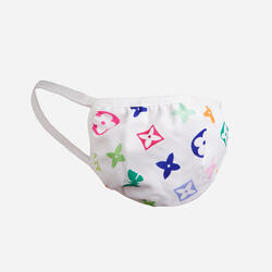 Multi Colour Print Fashion Face Mask In White