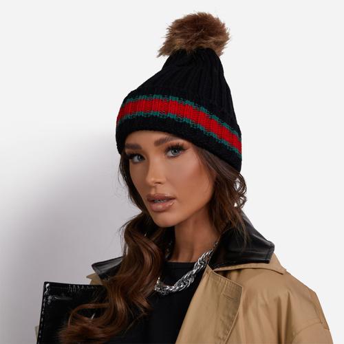 Striped Detail Faux Fur Pom Pom Hat In Black Knit