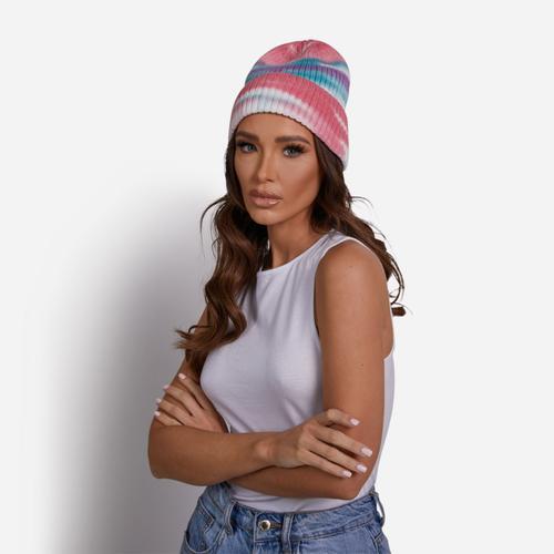 Beanie Hat In Pink Tie Dye Knit