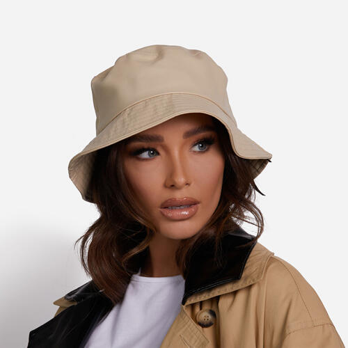 Bucket Hat In Nude Faux Leather