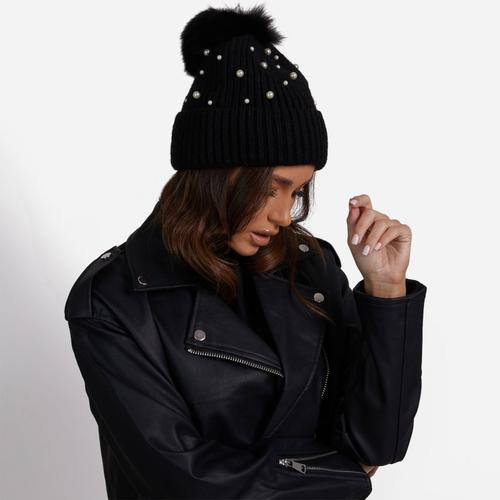 Pearl Detail Ribbed Faux Fur Pom Pom Hat In Black Knit