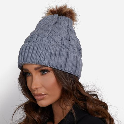 Multi Pack Adult And Kid's Faux Fur Pom Pom Hat In Grey Knit