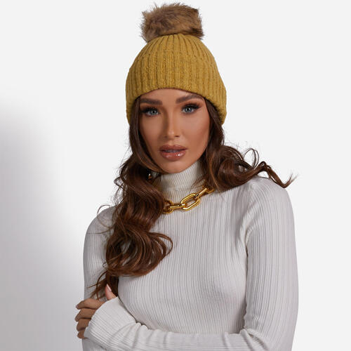 Ribbed Faux Fur Pom Pom Hat In Mustard Yellow Knit