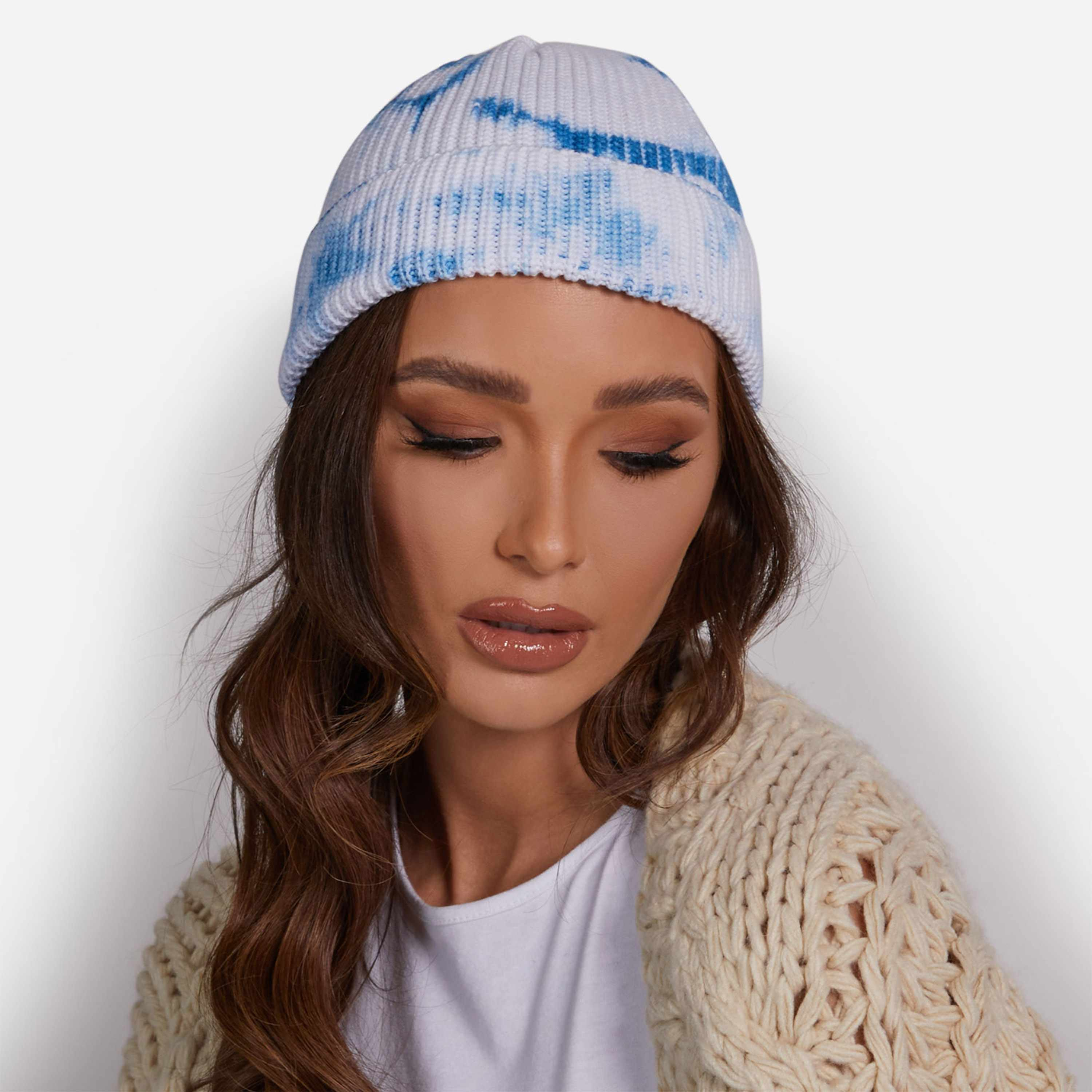Fisherman Beanie Hat In Blue Tie Dye Knit