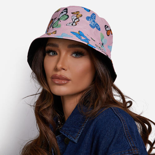 Bucket Hat In Pink Butterfly Print