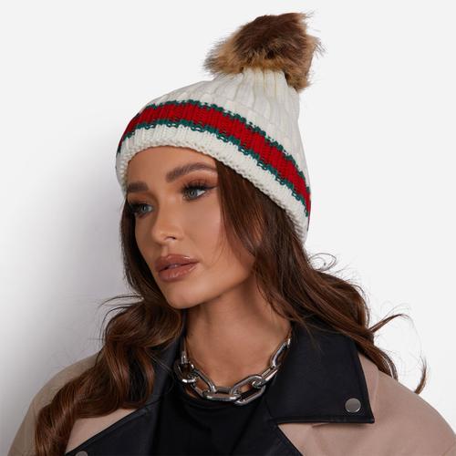 Striped Detail Faux Fur Pom Pom Hat In White Knit