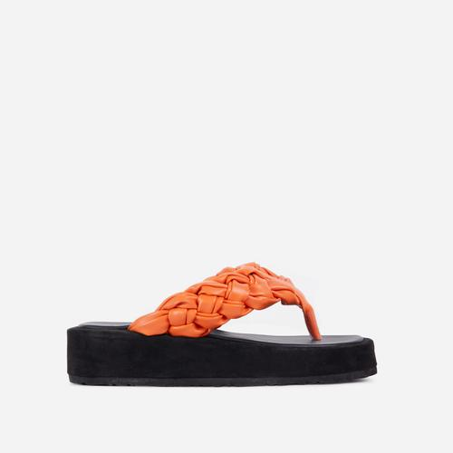 Morocco Braided Thong Strap Chunky Sole Flat Sandal In Orange Faux Leather