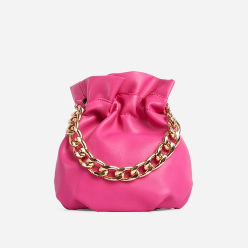 Natalina Chain Strap Detail Grab Bag In Pink Faux Leather