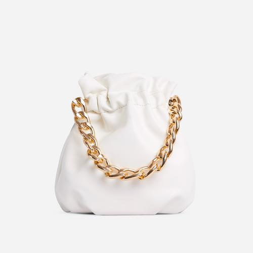 Natalina Chain Strap Detail Grab Bag In White Faux Leather