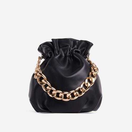Natalina Chain Strap Detail Grab Bag In Black Faux Leather