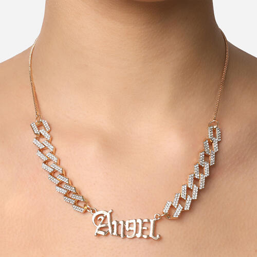 Angel Slogan Chunky Chain Choker Necklace In Gold