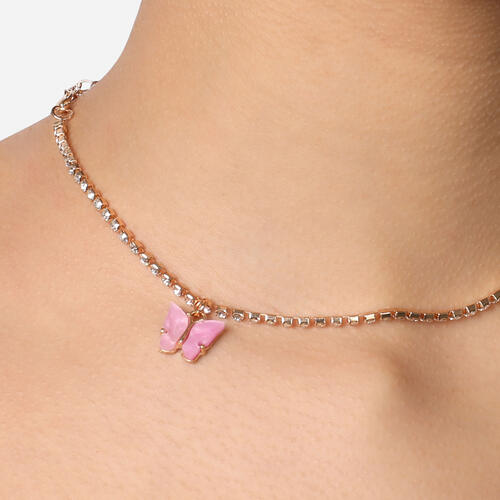 Butterfly Detail Diamante Choker Necklace In Gold