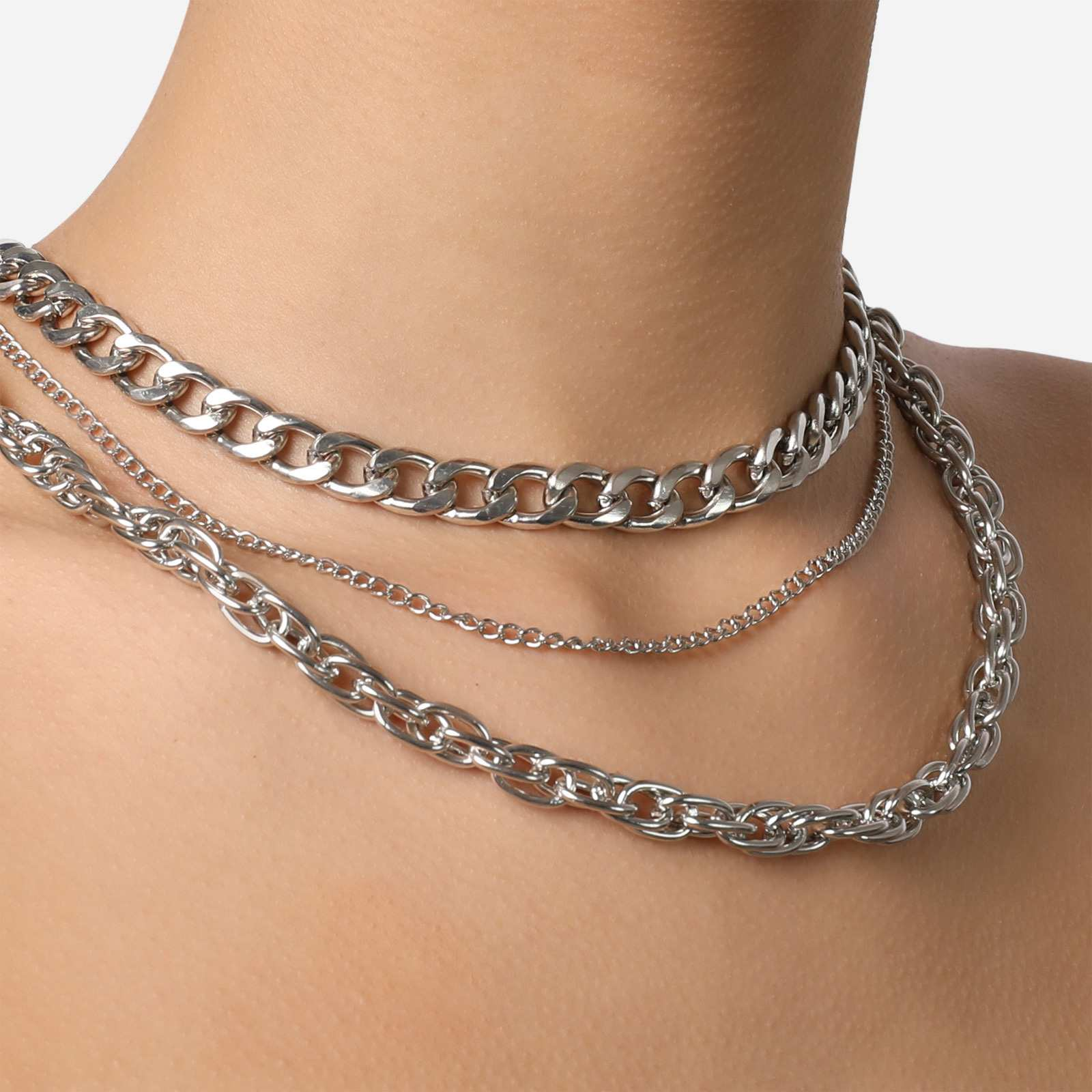 Twisted Multi Chain Necklace In Silver